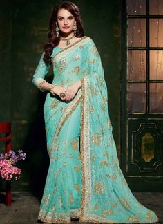 Amazing Turquoise Designer Saree  http://www.angelnx.com/Sarees