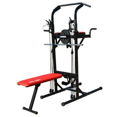 Iron Jack Muli-Function Power Tower Work Out Exercise Station Chin-Up Pull-Up Dip VKR Bench Press Stand