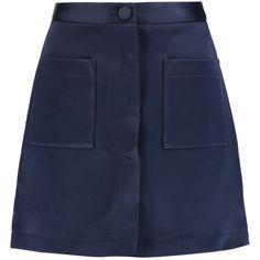 Adam Lippes Satin-crepe mini skirt (1.900 ARS) ❤ liked on Polyvore featuring skirts, mini skirts, bottoms, faldas, saias, midnight blue, satin skirts, adam, satin mini skirt and mini skirt