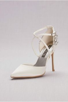 White by Vera Wang Ivory Pumps (Pointed-Toe Cross-Strap Heels with Crystal  Back) 7a855edda8de