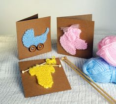 New baby card knitting pattern / Baby shower door SprogletsKits