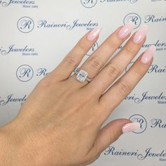 #RainandCo Custom Made Diamond Engagement Ring With an Emerald Cut Diamond Center Stone, a rectangular shaped diamond halo, diamond detailing and a diamond band! ✨•• #engagementring #engagement #Wedding #diamondring #BGRings #TheknotRings #WeddedWonderland #diamonds #diamondengagementring #beautiful #jewelry #bride #nyc #customMade #jewelryDesigner #ringselfie #proposal #proposals #goals #bridetobe #inlove