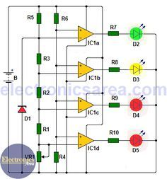 This Car battery monitor, allow us to know the voltage of the battery at all times. To achieve this, an IC and 4 leds are used. LEDs are placed on the dash Battery Charger Circuit, Automatic Battery Charger, Diy Electronics, Electronics Projects, Arduino, Circuit Projects, Diy Projects, Simple Electronic Circuits, Power Supply Circuit