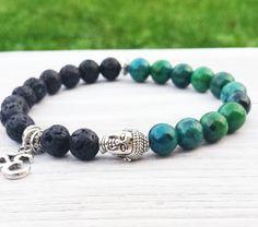 Mens Beaded Tierracast Buddha Yoga Bracelet, Ohm Charm Bracelet, Black Lava and Chrysocolla Bracelet, Spiritual Gifts, Healing Wrist Mala