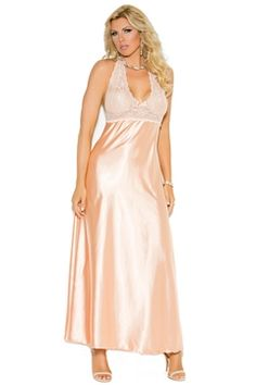 0eec333ecc From Elegant Moments lingerie Lace   Charmeuse Halter Gown Plus Size. Keep  your style flawless