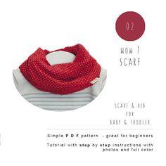 Baby sewing patterns. Scarf Bib PDF. Baby door PicoPicoPatterns