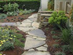 Flagstone Walkway Design Ideas, Pictures, Remodel and Decor Broken Concrete, Concrete Path, Recycled Concrete, Concrete Design, Landscape Architecture, Landscape Design, Garden Design, Patio Design, Flagstone Pathway