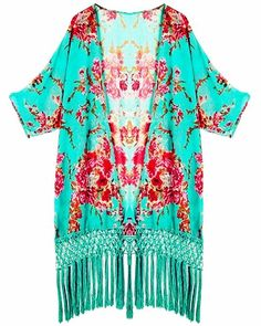 Floral Beach & Poolside Bikini Cover Up, Turquoise