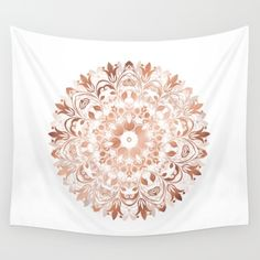 Hip #rosegold #copper on #white background in soft #floral shape. This #elegant #mandala enhances positive selfawareness and fits into your dorm- or livingroom.