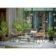 Buy Argos Home 4 Seater Bamboo Sofa Set Argos Garden Furniture, Outdoor Furniture Sets, Cane Furniture, Garden Table, Garden Chairs, Bamboo Sofa, Bamboo Table, Black Cushions, Sustainable Furniture