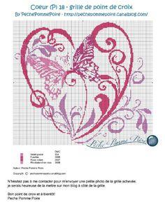 PechePommePoire Butterfly Cross Stitch, Cross Stitch Heart, Butterfly Pattern, Counted Cross Stitch Patterns, Cross Stitch Designs, Blackwork Embroidery, Cross Stitch Embroidery, Graph Paper Art, Swedish Weaving