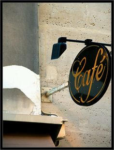 Cafe signs in Paris