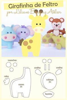 31 ideas doll felt pattern diy for 2019 Baby Crafts, Felt Crafts, Crafts For Kids, Bebe Love, Giraffe Pattern, Baby Mobile, Felt Baby, Fabric Toys, Felt Patterns