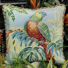 A lovely design with a bird and jungle flowers. Jungle Flowers, Tent Stitch, Long And Short Stitch, Tapestry Kits, Traditional Interior, Tropical Birds, Needlepoint Kits, Colour Images, Parrot