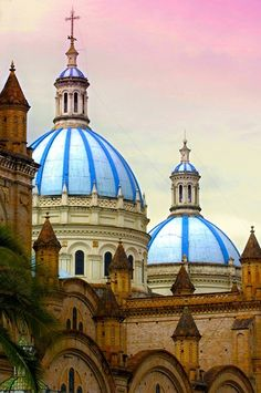 Blue Domes of the Cathedral in Cuenca, Ecuador