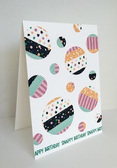 handmade card from Nice things Ingen ... one layer ... circles of various sizes punched from cardstock covered in washi tape ... fun and cheerful ... Stampin' Up!