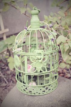 small Metal Green cottage bird cage by perfectlywhimsical Small Bird Cage, Small Birds, Shabby Chic Birdhouse, Bird Wings, Bird Cages, Bird Illustration, Vase, Bird Feathers, Shades Of Green