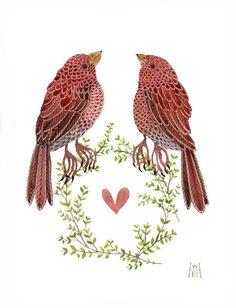 Blushing Birds No. 2 original watercolour painting By Golly Bard