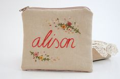 Personalized Clutch - Unique Floral and Own Name Hand Embroidery Name Embroidery, Cross Stitch Embroidery, Embroidery Designs, Custom Gift Bags, Small Cosmetic Bags, Pouch Bag, Purses And Bags, Needlework, Coin Purse