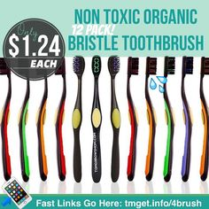 Toothbrushes featuring natural non-synthetic fibers. Bristles molded from durable bamboo charcoal Designed to draw odor and impurities from the mouth. Recessed gum and tongue massagers. Easy grip handles. Four bright colors. . . Pack of 12 toothbrushes. $9.50$3.99 Shipping. . . These retail for $45.00 $3.99 s/h ($4.16 ea.) you get them for $1.24 each! Read more details and Instructions at:  tmget.info/4brush follow the link in my Bio @Tomorrowsmom #tomorrowsmom #cosmicmothers…