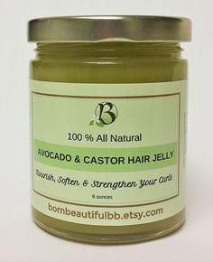 Natural Hair Jelly Avocado & Castor Oil by BornBeautifulBB on Etsy