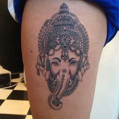 21. Indian elephant on the thigh In India, an elephant is associated with mighty Indra, it is the symbol of spiritual balance, imperial dignity, and discretion. This smoky thigh ink depicts a sublime elephant, wearing an Indian headdress, the tattoo is worn by a potent personality. - source