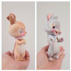 Cute Needle felted project wool animal bunnies(Via @ribo2009)