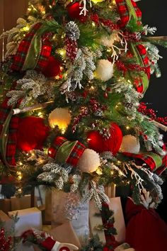 Red and lime green Christmas tree