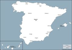 Spain : free map, free blank map, free outline map, free base map : outline, main cities, names