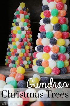 Sweeten up your holidays with this bright and colorful gumdrop Christmas tree craft idea! /// by Atkinson Drive