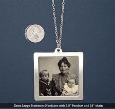 """Extra Large 2.5"""" Statement Photo Pendant Necklace Kit"""