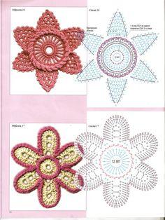 irish crochet motifs-plenty of them here! Irish Crochet Patterns, Crochet Motifs, Freeform Crochet, Crochet Diagram, Crochet Chart, Thread Crochet, Crochet Stitches, Crochet Leaves, Crochet Flowers