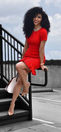 Red dress power dress professional clothes workwear attorney outfit lawyer clothes natural curls shea moisture kera care curly hair wash and go diffuser natural hair Blac. Work Fashion, Fashion Outfits, Womens Fashion, Ladies Fashion, Fashion Styles, Proper Attire, Lawyer Outfit, Look Office, Corporate Fashion