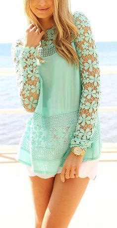 Teenage Fashion Blog: Mint Crochet Lace Blouse with White Short | Summer...