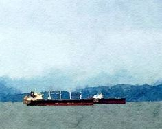 Freighter in English Bay Artwork New Media, Watercolours, Watercolor Art, Vancouver, Saatchi Art, English, Art Prints, Digital
