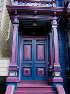 Which board do I put this on?  OK, a little over the top painted lady house in blue and purple.