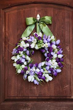 Easter Wreath XL Spring Wreath Front door by maddyjanedesigns Wreath Crafts, Diy Wreath, Tulip Wreath, Floral Wreath, Purple Wreath, Easter Wreaths, Holiday Wreaths, Couronne Diy, Corona Floral