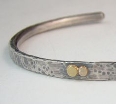 Sterling Silver Rustic Cuff with Gold Accents Rose by panicmama
