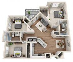 New House Interior Design Layout Loft 56 Ideas Sims 4 House Plans, House Floor Plans, Apartment Layout, Apartment Design, Apartment Plants, Apartment Ideas, Apartment Living, 4 Bedroom Apartments, Bedroom Layouts