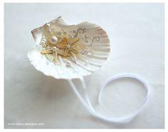Beach Ring Bearer Sea Shell. Beach Wedding Ring by IrenDesigns