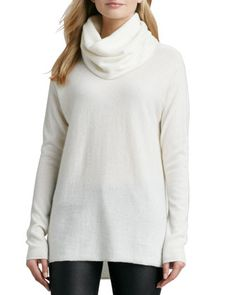 Drape-Neck Cashmere Sweater, Winter White by Vince at Neiman Marcus.