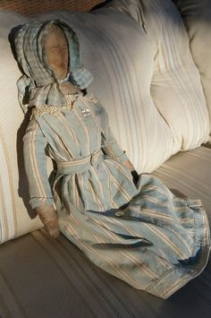 """Large 23"""" antique cloth doll ~ love her clothing!"""