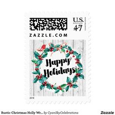 Rustic Christmas Holly Wreath Happy Holidays Postage @zazzle