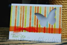 This was made to thank the school chaplain when she left the local primary school to move closer to her home (45 kms away). It's a great way to use up those negative spaces of your die cuts. You just have to be careful where you stamp & write in the inside of your card or you'll see it through the cut out.