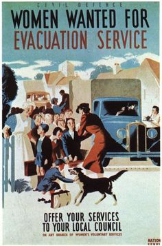 Recruiting poster for Civil Defence Evacuation Service, Great Britain, WWII. Publisher: National Service, Women's Voluntary Services,  ARP (Air Raid Precautions). Artist: Jack Matthew (b. 1911). (Imperial War Museums)