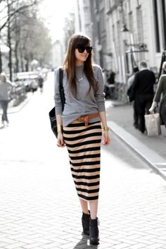 gray sweater, caramel belt, black ankle boots, striped pencil midi skirt