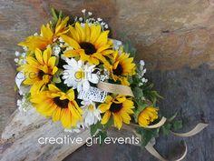 COUNTRY CHIC Sunflower Bouquet w Burlap Lace by CreativeGirlEvents