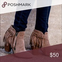 Beige Fringe Booties Beige Fringe booties. Fit true to size. Super comfortable and chic. Coming very soon!! Sizes are listed below. No trades. Shoes Ankle Boots & Booties