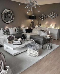 white living room and gray tricks how to arrange top ideas modern decoration 201 . salon blanc et gris astuces comment aménager top idées décoration moderne white living room and gray tricks how to arrange top ideas modern decoration 2018 Glam Living Room, Living Room Decor Cozy, Living Room Interior, Decor Room, Living Room Themes, Small Living Rooms, Apartment Interior, Living Room Decor Ideas Brown, Grey Loving Room Ideas