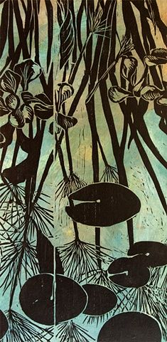 "Papyrus Reflected, 24""x12""x2"", woodcut on paper mounted on wooden panel"